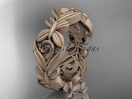14kt rose gold matte finish leaf and vine, butterfly wedding band ADLR348G - $875.00