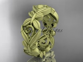14kt yellow gold matte finish leaf and vine, butterfly wedding band ADLR348G - $875.00