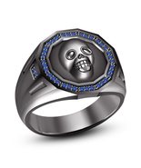 14k Black GP 925 Pure Sterling Silver Charming Biker Skull Ring W/ Blue ... - £69.78 GBP