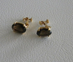 Oval Faceted Smokey Quartz Cubic Zirconia Vintage Clip-on Gold Tone Earr... - $15.99