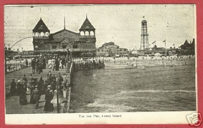 CONEY ISLAND NY Iron Pier People 1911 NEW YORK Postcard