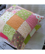 Handmade Quilted Complete Pillow Pair 18 x 18 With Faux Down Inserts - P... - $88.11