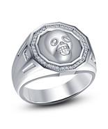 925 Silver White CZ Full White Platinum Finished Biker Skull Ring - $76.86