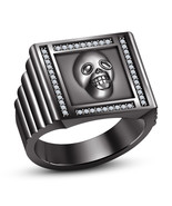 18k Black Rhodium Finished White CZ Fashionable Biker Skull Ring In 925 ... - £70.05 GBP