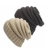 Senker 2 Pack Slouchy Beanie Cap Knit Soft Cozy Cable Hats for Women and... - $16.12