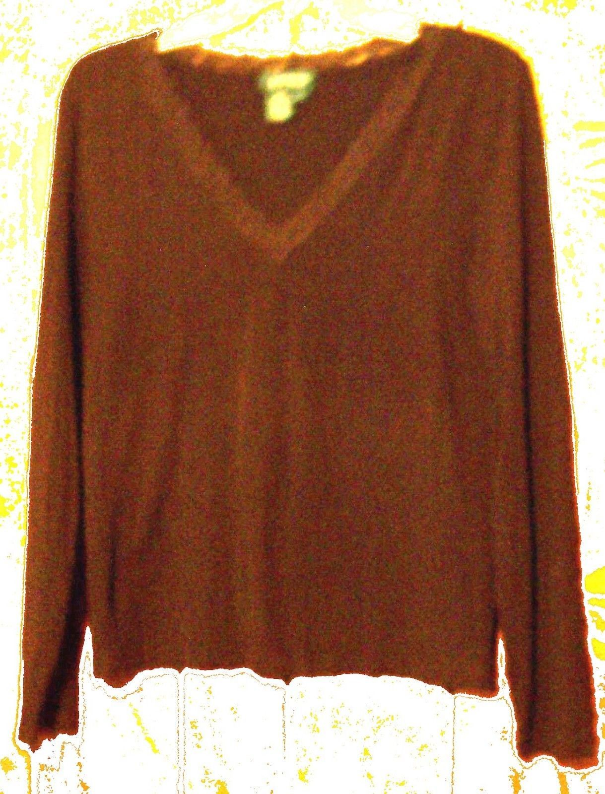 Sz L - Ralph Lauren Dark Brown Lace Neckline Stretch Long Sleeve Top Size Large