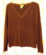 Sz L - Ralph Lauren Dark Brown Lace Neckline Stretch Long Sleeve Top Siz... - $23.74