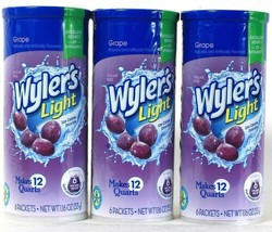 3 Wyler's 1.16 Oz Light Grape Sugar Free 6 Count Drink Mix Pitcher Packs - $19.99