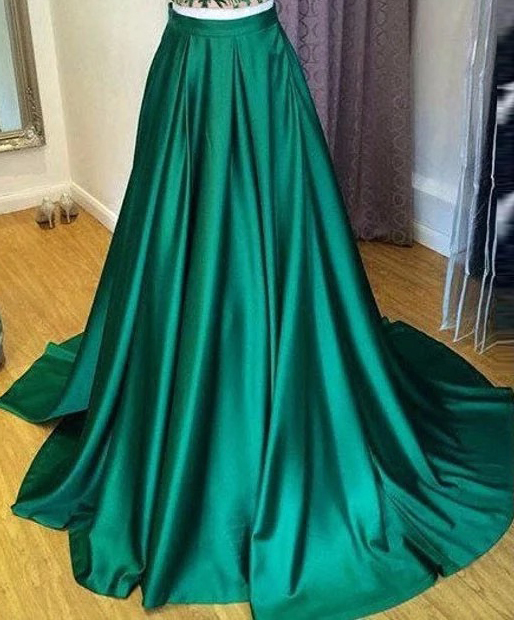 Emerald Green Taffeta Maxi Formal Skirt Women High Waist Taffeta Skirt with Tail