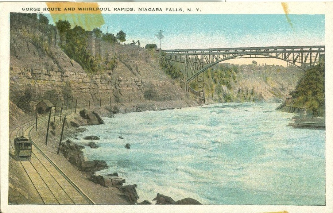 George Route and Whirlpool Rapids, Niagara Falls, NY, 1920s unused Postcard