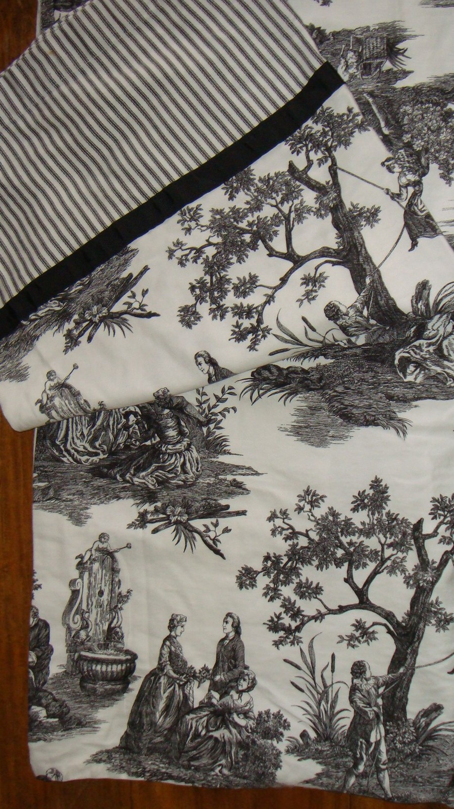 Waverly Country Life Toile Black And White Fabric Shower