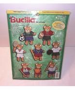 Bears Christmas Ornaments Kit Sports Teddy Bucilla Felt 8 NEW Sport Bear... - $33.61