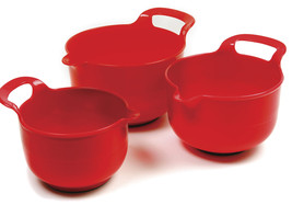 Norpro 1020 Mixing Bowls Set of 3 With Handle Grip and Non-Slip Base RED - $388,78 MXN