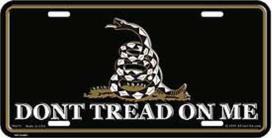 Don't Tread on Me - Gadsden Tea Party License Plate,  Auto Tag  (Black)