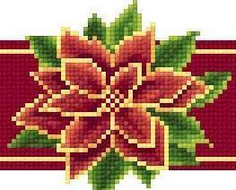 Poinsettia Red Ribbon christmas holiday cross stitch chart Solaria Designs