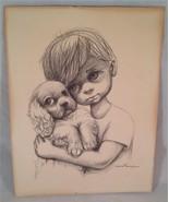 Ozz Franca Sad Eyed Boy and Puppy Good Condition, Vintage - $44.99