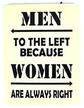 Hand Carved Wooden MEN TO THE LEFT, BECAUSE WOMEN ARE ALWAYS RIGHT Bathr... - $24.74