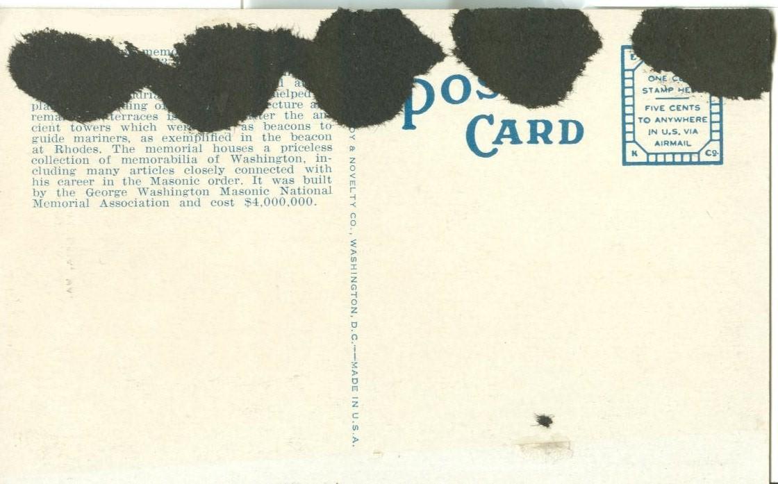 George Washington Masonic National Memorial, Alexandria, VA, 1920s Postcard