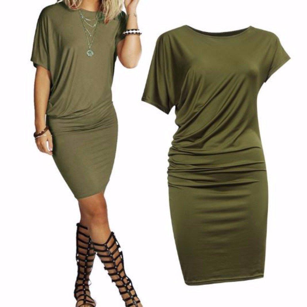 Odycon dress small army green stylish irregular batwing sleeve women bodycon dress 1367554031647