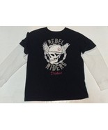 Dickies Rebel Riders Black & White Skull Casual Shirt Size  M - $9.99