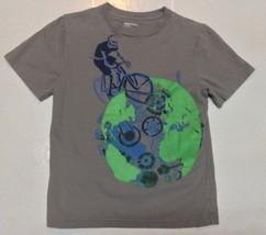 GAP Kids TShirt Gray Bicycling Skeleton Cartoon Sz S 6/7  - $7.99