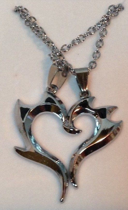 Two Hearts Necklace NEW Chain Black Accents Silver Plated