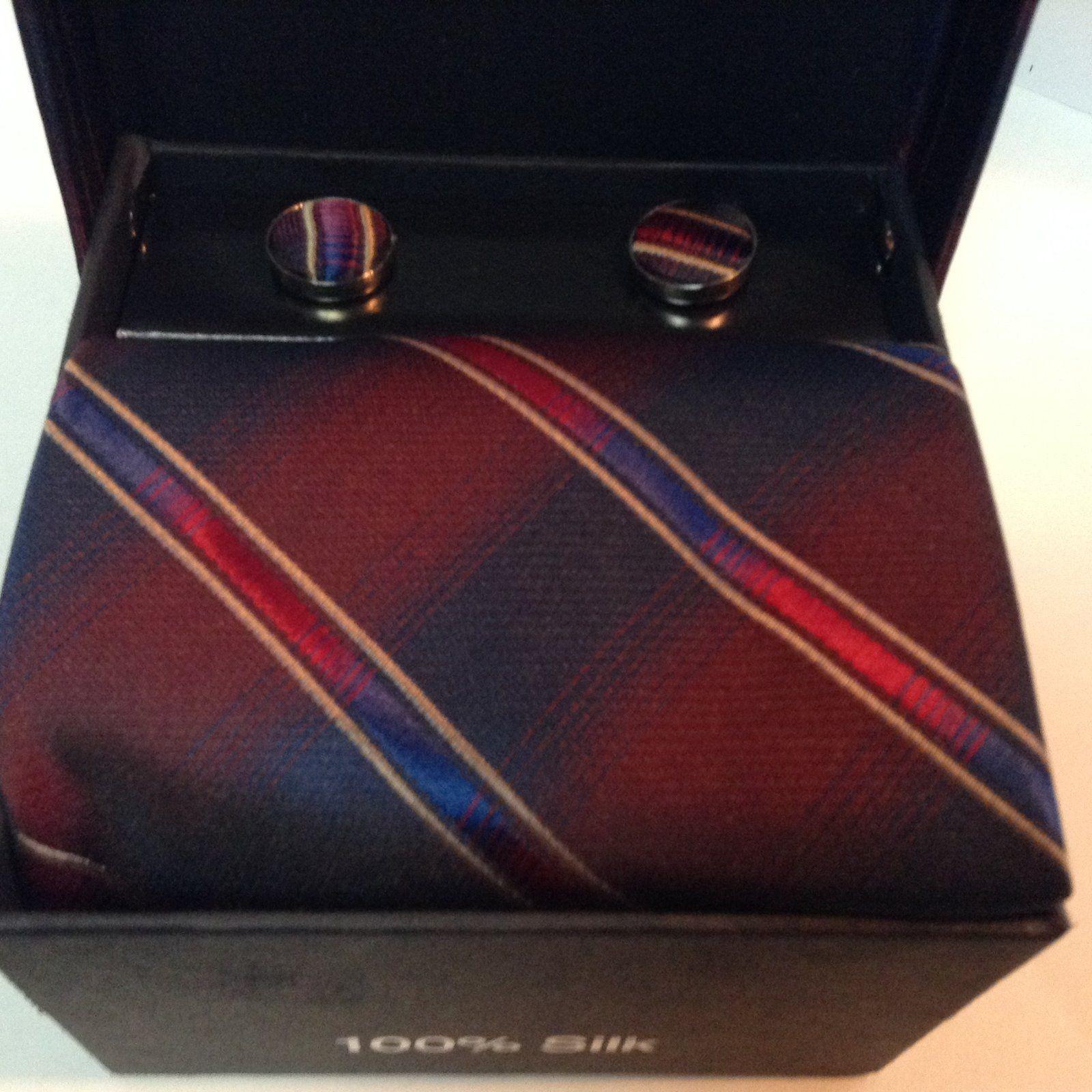 Paolo Bertolucci NIB Mens Silk Tie Cufflinks Pocket Square Set Blue Red Designer