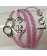 Bracelet Leather NEW Braided Pink Silver Metal Handcuffs Heart Love Fash... - $6.92