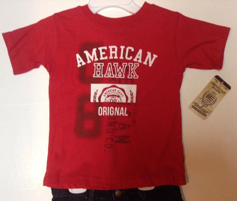 American Hawk Boy's T-Shirt and Jean Shorts Set NWT Sz 5