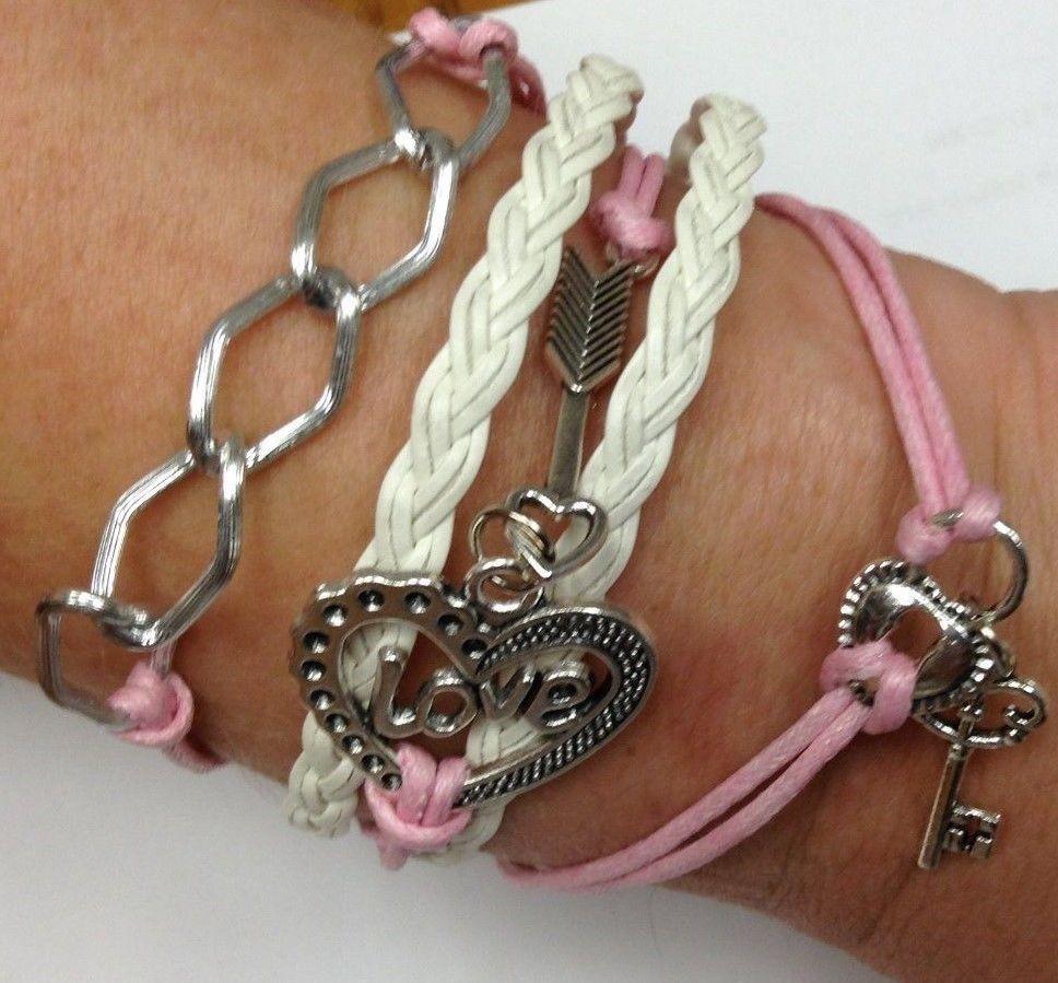 Leather Bracelet NEW Braided Pink White Love Heart Key Fashion