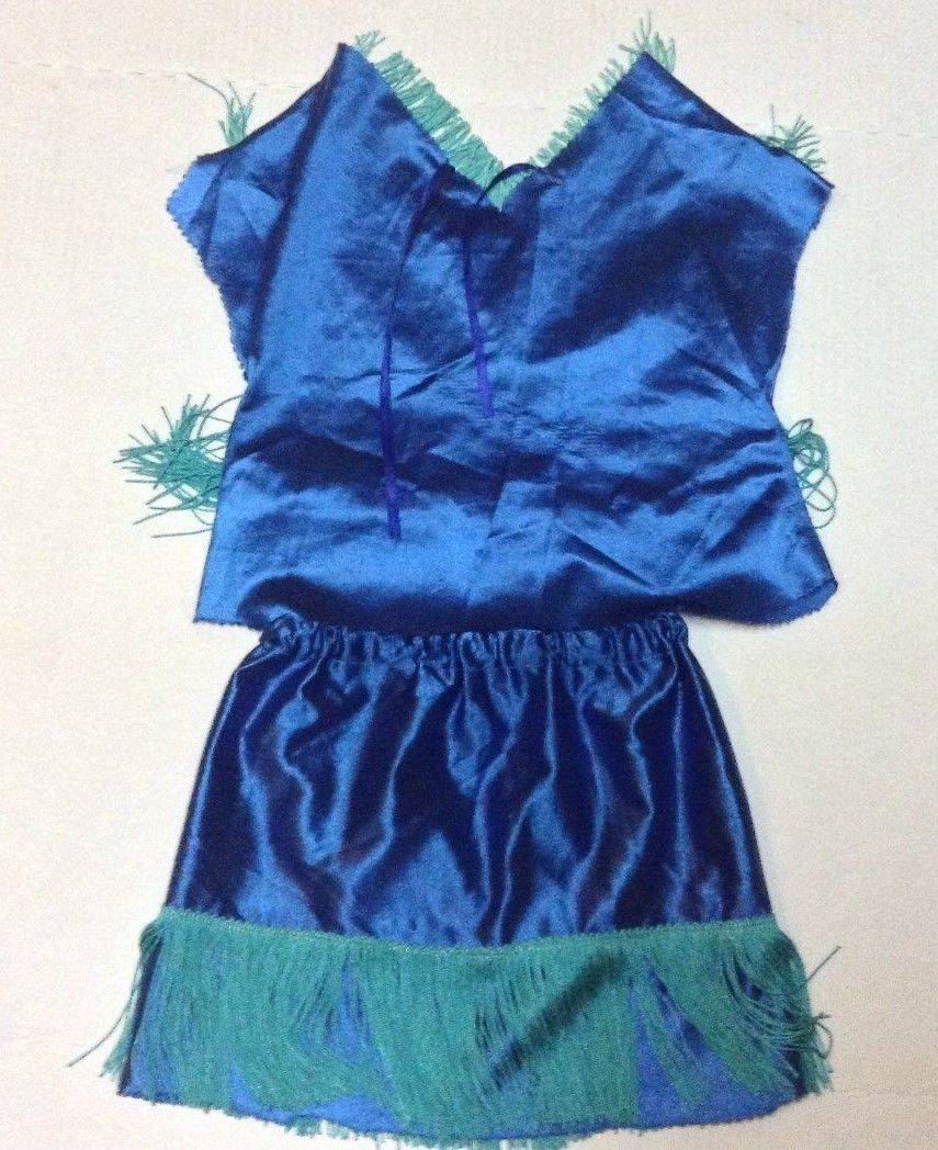 Handmade Girl's DANCING WITH THE STARS Blue Fringed Blouse and Skirt Siz 5/6