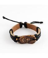 "Leather Cord Bracelet Native American Charm Portrait 9"" Tie On - $6.50"