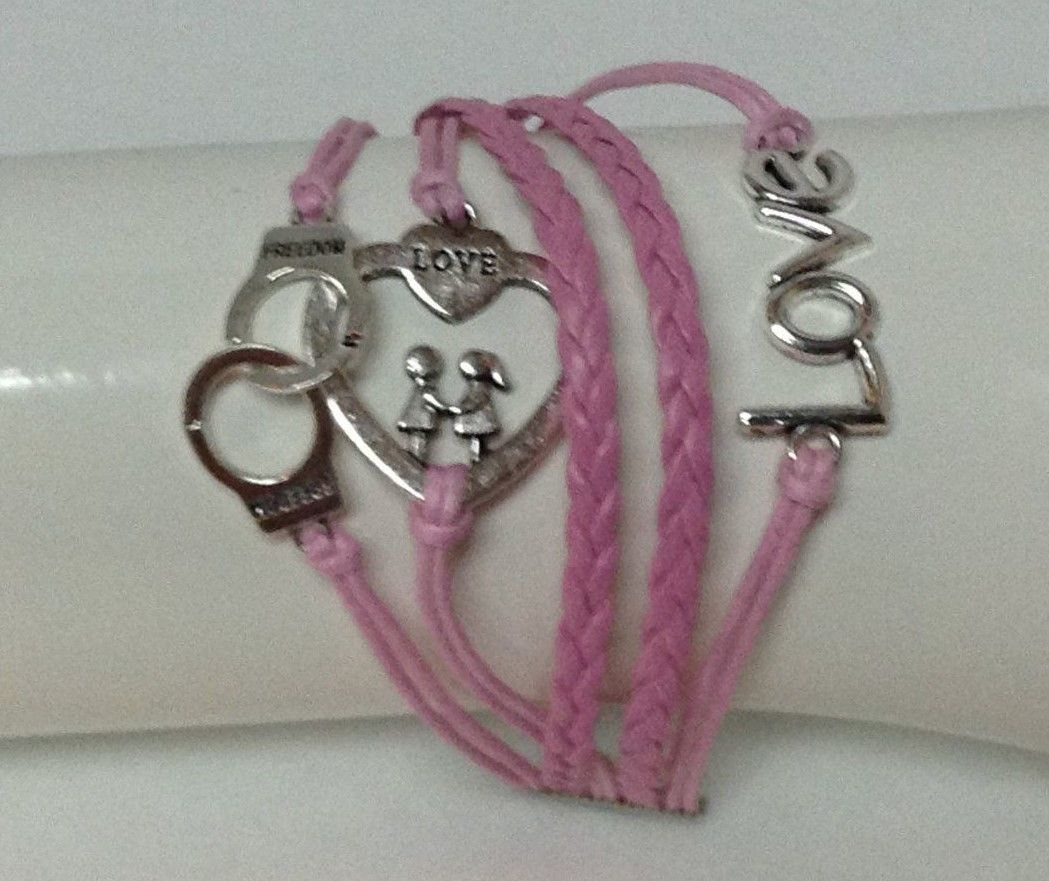 Bracelet Leather NEW Braided Pink Silver Metal Handcuffs Heart Love Fashion