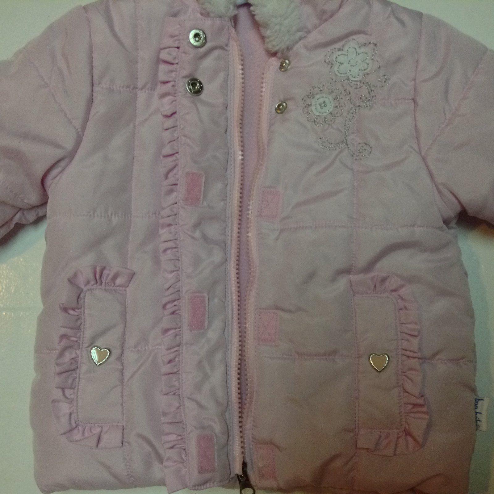 Bon Bebe Pink Coat Hearts White Faux Fur 18MO NNT Sewn In Idenification