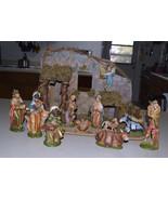 "#0801 Fontanini 11 piece - RARE 6 1/2"" size Nativity -- PLUS Large Stable  - $275.00"