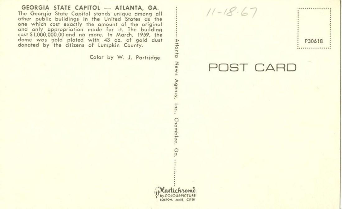Georgia State Capitol, Atlanta, GA, 1960s unused Postcard