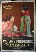 ONE WEEK OF LIFE (1919) Goldwyn Silent Film One-Sheet Poster Pauline Fre... - $750.00