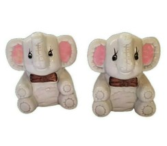 Elephant Salt and Pepper shakers with Brown Bow Tie Taiwan ROC Vintage - $13.63