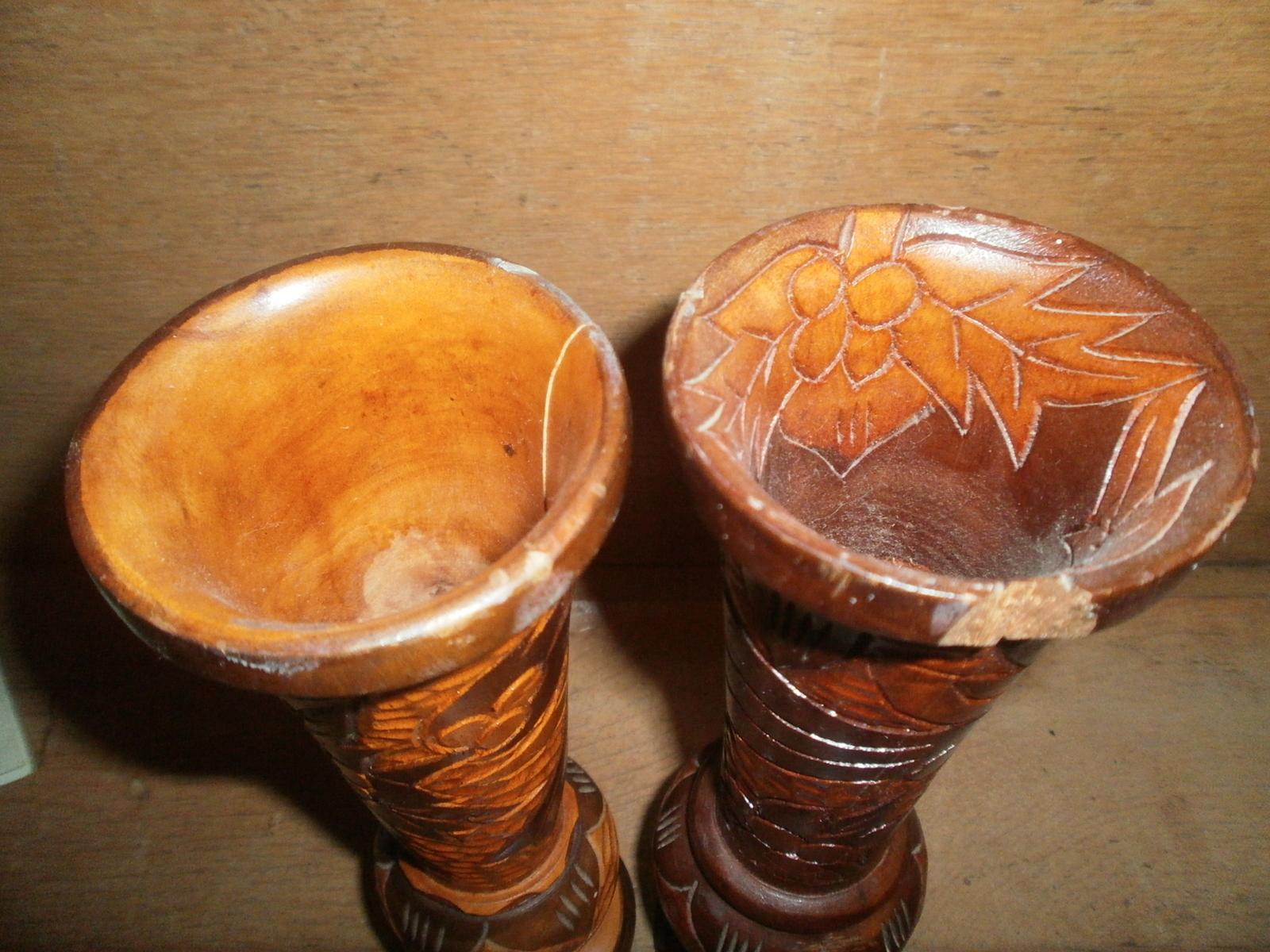 Wooden Hand Carved Aruba Vases  , Bird & Flowers