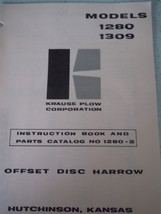 Krause Plow Corp Offset Disc Harrow Instruction Book & Parts Catalog 1978 - $8.99