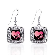 Inspired Silver Gigi Classic Charm Earrings Square French Hook Clear Cry... - $9.80