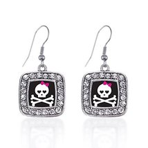 Inspired Silver Cute Skull And Crossbones Classic Charm Earrings Square ... - $9.80