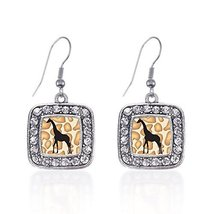Inspired Silver Giraffe Silhouette Classic Charm Earrings Square French ... - $9.80