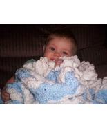 Blue & White Striped Hand Crocheted Baby Blanket - $50.00