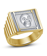 Yellow Platinum Finishing Classy Biker Skull Ring In 925 Silver With Whi... - £61.96 GBP