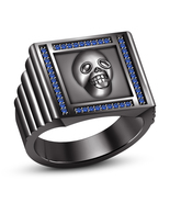 Solid 925 Sterling Silver Black GP Marvelous Biker Skull Ring With Blue ... - £72.43 GBP