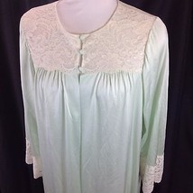 Vtg Shadowline Pale Green Nylon Ivory Lace Robe Covered Button Closure L... - $29.21