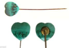 Antique Victorian Heart Shaped Green Malachite Stick Pin - $42.00