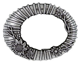 Antique Flower Oval - Silver Plated Decorative Belt Buckle - $12.82