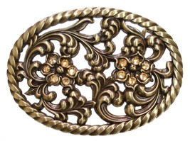 Floral Blaze - Engraved Cutout Brass Plated Belt Buckle w/ Crystal Deco - $9.85